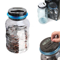 Electronic LCD Counting Coin Saving Pot Money Boxes Showing Piggy Bank