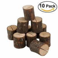 10pcs Wooden Rustic Wedding Name Place Card Holders Home Decor