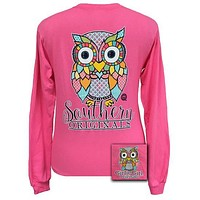 Girlie Girl Southern Originals Classy Preppy Owl Pink Long sleeve T Shirt