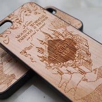 iphone 5 case,Wood iphone 5 case, iphone 5 cover, marauders map inspired Case Laser Engraved Map,Real Wooden case, iphone Wood case, Wood