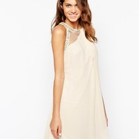 Little Mistress High Neck Prom Dress with Embellished Trim
