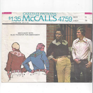 McCall's 4759 Pattern for Men's Western Shirt with Transfer, Size 38, From 1975, Vintage Pattern, Front Button Shirt, Front & Back Yoke