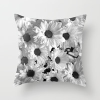 Daisy Chaos in Black and White Throw Pillow by Micklyn