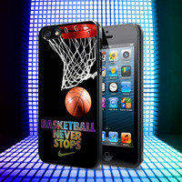 Basketball Never Stop iPhone 4, 4S, 5, 5C, 5S Samsung Galaxy S2, S3, S4 Case