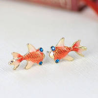Gold Plated Goldfish Earrings with Blue Topaz Crystal Eyes