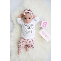 Newborn Toddler Baby Girls Clothes 3Pcs Set Cotton Long Sleeve Letters Daddy's Little Girl T-shirt+Pants+Headband Infant Outfits