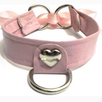 BDSM Heart Collar Pink Pastel Choker by IdeologiaStore on Etsy