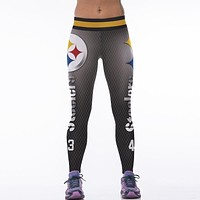 Women NFL Team Pittsburgh Steelers Logo Fitness Leggings Elastic Fiber Hiphop Party Cheerleader Rooter Workout Pants Trousers
