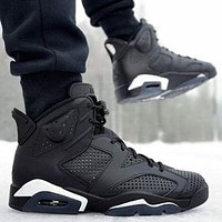 Bunchsun Air Jordan 6 Fashionable Men Casual Sport Running Basketball Shoes Sneakers Black
