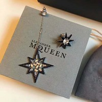 McQueen 2018 new personality retro asymmetric long eight-star awning earrings