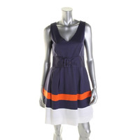 Kate Spade Womens Sleeveless Colorblock Casual Dress