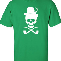 Skull pub Irish crawl fight bar scotland saint st. Patrick's Paddy's ireland scottish T-Shirt Tee Shirt Mens Ladies Womens mad labs ML-284