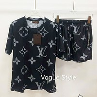 LV Louis Vuitton Newest Popular Casual Short Sleeve Top Shorts Set Two-Piece Black