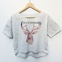 Expecto Patronum Deer Head Flower Harry Potter Tees Crop Top Fashion T-shirt Woman