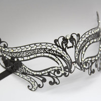 Romantic  Laser Cut Venetian Masquerade Mask with Diamonds - Made of Light Metal