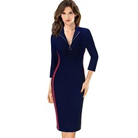 Vfemage Womens Elegant Front Zip Colorblock Contrast Athleisure Work Business Casual Party Slim Fitted Bodycon Sheath Dress 161