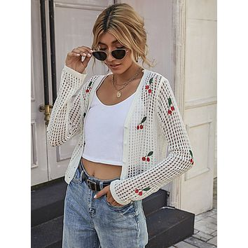 Cherry Embroidered Open Knit Button Front Cardigan