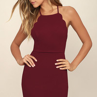 Heart's Content Wine Red Bodycon Dress