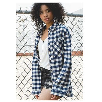 Heavenly Navy Plaid Flannel Top