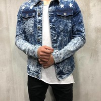 Trucker Denim Jacket Ripped Star Embroidery - Blue
