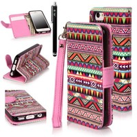 iPhone 5C Case, iPhone 5C Flip Case - E LV Deluxe Tribal print PU Leather Wallet Purse Flip Folio Stand Case Cover for iPhone 5C with 1 Stylus and 1 Clear Screen Protector
