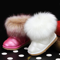 Winter Fashion girls snow boots shoes warm plush soft bottom baby girls boots comfy kids leather winter snow boot girls shoes
