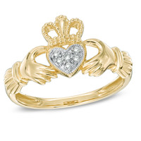 Diamond Accent Vintage-Style Claddagh Ring in 10K Gold