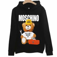 Moschino autumn and winter new tide brand bear print couple models hooded sweater Black