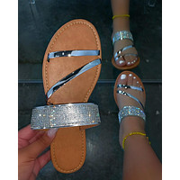 Summer new style rhinestone ladies sandals slippers shoes