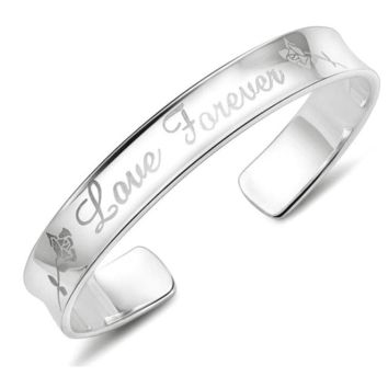 Love Forever Silver Cuff Bangle Bracelet For Woman