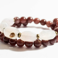 FREE SHIPPING - White Agate Brown Dyed Jade Beaded Bangle Bracelet