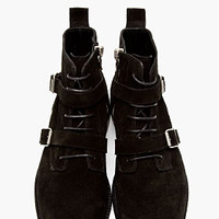BLACK SUEDE BELTED BOOTS