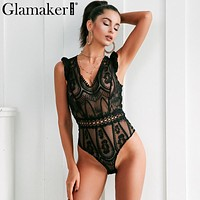 Glamaker Sexy white mesh bodysuit women tops Transparent summer jumpsuit romper Fitness  v neck hollow out party club bodysuits