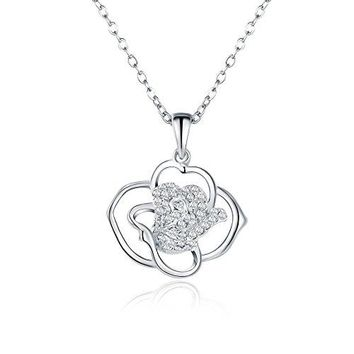 Sterling Silver Rose Flower Inspired Necklace - 925 Silver Simple Rose Pedal Necklaces for Women
