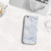 Makrana White Marble with Gold Accents Hybrid Phone Case for iPhone 6 & iPhone 6 Plus