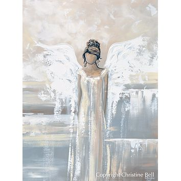 """""""Bringing Peace and Love"""" SPECIAL RELEASE GICLEE PRINT Abstract Angel Painting Elegant Guardian Angel, for Charity"""