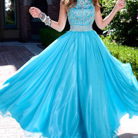 Sleeveless A-Line Beading Prom Dresses
