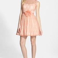 Junior Women's Way-In 'Carrie' Lace Skater Dress with Flower Sash