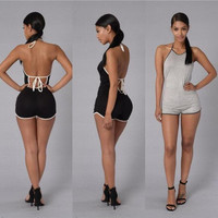 2017 Trending Fashion Summer Women Sexy Casual Backless Strappy Erotic Romper Shorts Trousers Pants _ 11129