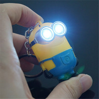 High Quality New Arrive Despicable Me Minions LED Keychain Talk Press Button Gift For Lovers Christmas Gifts