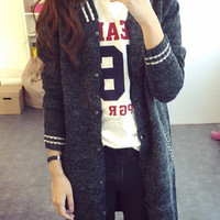 Full Buttoned Knitted Long Cardigan with Side Pocket
