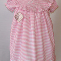 Ready To Ship Pink Stripes Personalized dress for girls,baby, toddler FREE Monogram from sz 12M,3T