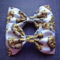 Despicable Me Minion crew  print handmade fabric bow tie or hair bow