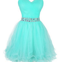 Cute Short Tulle Sweetheart Beaded Waist Ball Gown Homecoming Dress