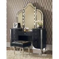 Aico Hollywood Swank Vanity in Black Iguana Vinyl by Michael Amini  (Does not Include Mirror & Bench)