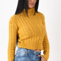 Mustard Cable Knit Polo Neck Jumper UK   Entire Desire