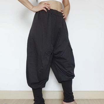 Ninja Gaucho Pant, Yoga Comfortable Harem Pant Style , Cotton Jersey In Grey Color.