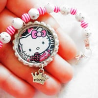 Hello kitty bracelet - pink bottle cap bracelet , princess bracelet , girls bracelet, kids bracelet , gift for girls ,children jewelry