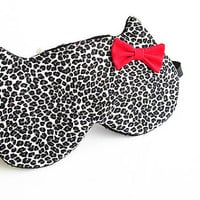 Bow Eye mask, Sleep mask, eye sleep mask, Kitty eye mask, Cat eye mask, Kitty sleep mask- Cheetah print.