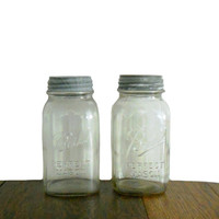 Vintage Ball Jar Mason with Original Zinc Lid - Clear Glass - One Quart Capacity Size - Grippers on the Sides - Set of 2